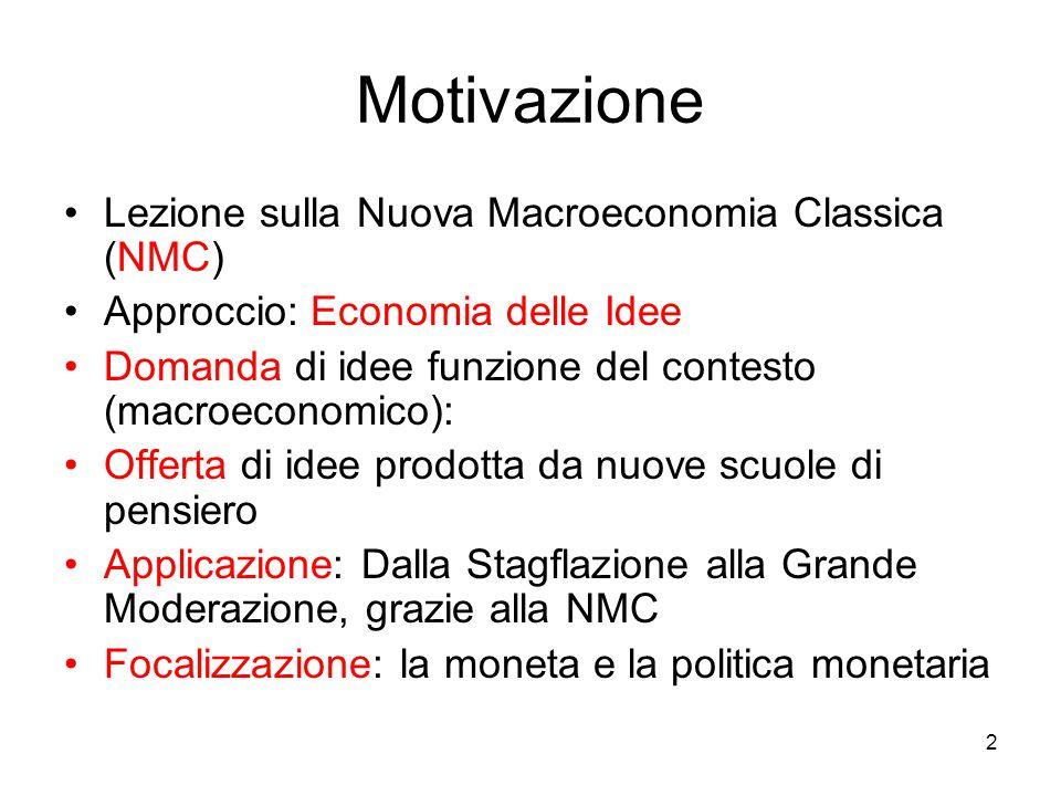 Motivazione Lezione sulla Nuova Macroeconomia Classica (NMC)