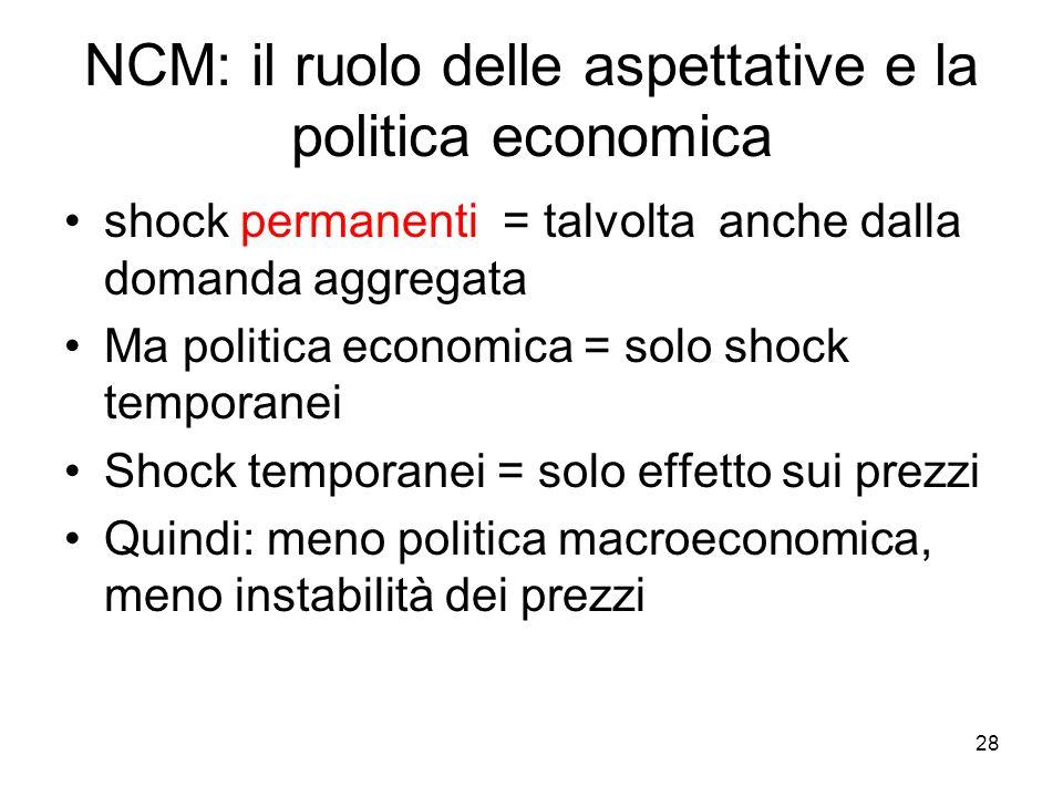 NCM: il ruolo delle aspettative e la politica economica