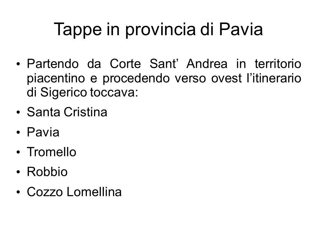 Tappe in provincia di Pavia