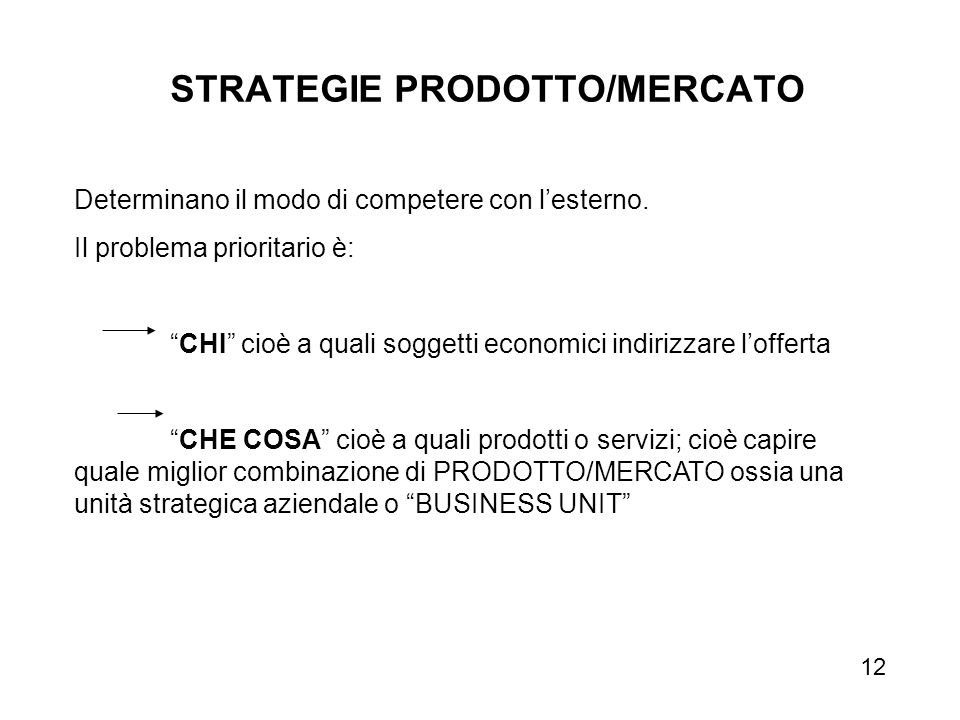 STRATEGIE PRODOTTO/MERCATO