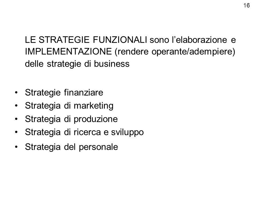 16 LE STRATEGIE FUNZIONALI sono l'elaborazione e IMPLEMENTAZIONE (rendere operante/adempiere) delle strategie di business.