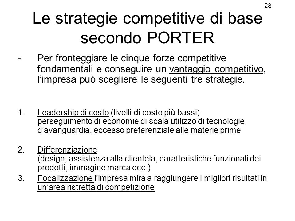 Le strategie competitive di base secondo PORTER