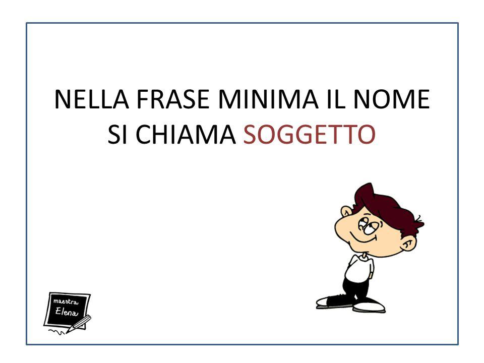 NELLA FRASE MINIMA IL NOME SI CHIAMA SOGGETTO