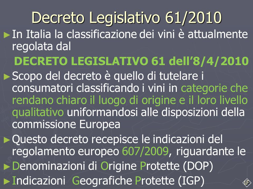 DECRETO LEGISLATIVO 61 dell'8/4/2010