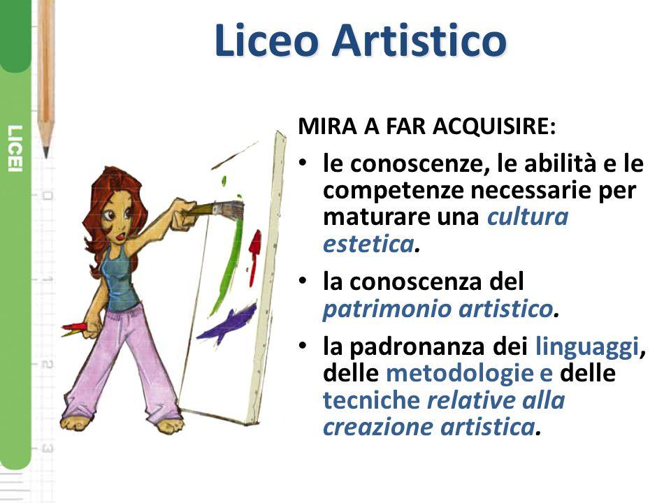 Liceo Artistico MIRA A FAR ACQUISIRE: le conoscenze, le abilità e le competenze necessarie per maturare una cultura estetica.