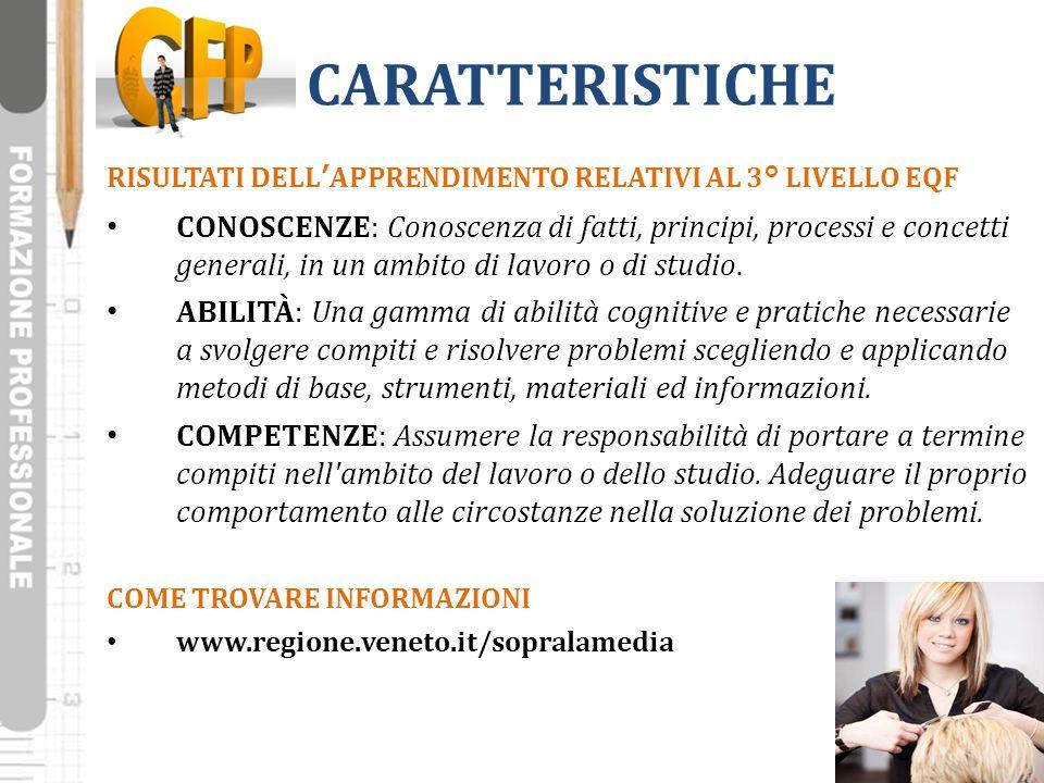 CARATTERISTICHE RISULTATI DELL'APPRENDIMENTO RELATIVI AL 3° LIVELLO EQF.