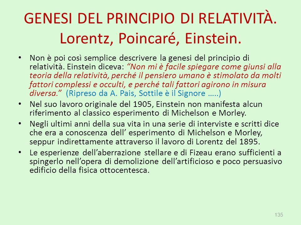 GENESI DEL PRINCIPIO DI RELATIVITÀ. Lorentz, Poincaré, Einstein.