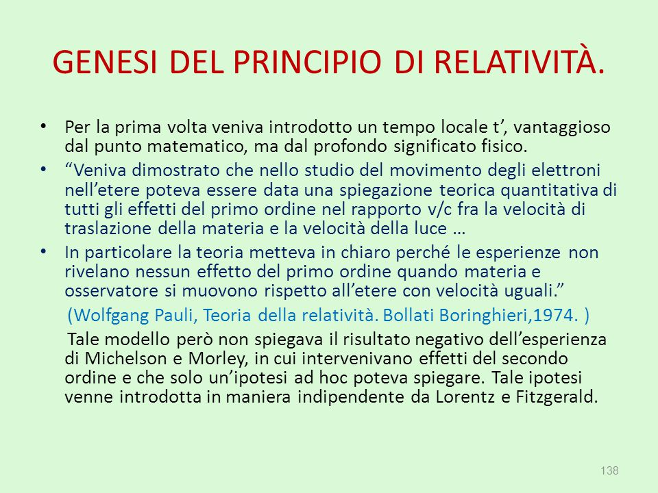 GENESI DEL PRINCIPIO DI RELATIVITÀ.