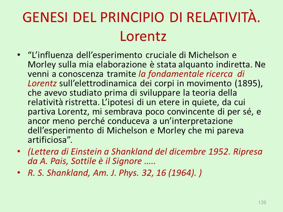 GENESI DEL PRINCIPIO DI RELATIVITÀ. Lorentz