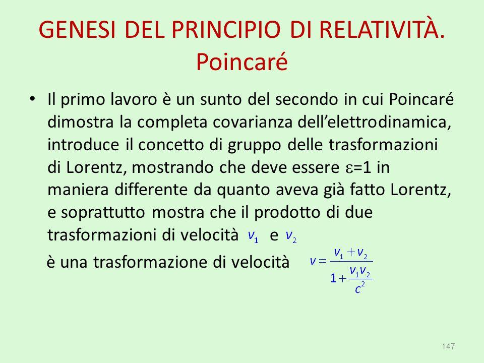GENESI DEL PRINCIPIO DI RELATIVITÀ. Poincaré