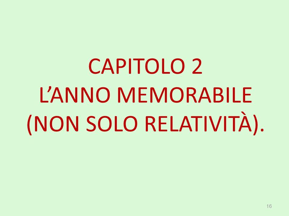 CAPITOLO 2 L'ANNO MEMORABILE (NON SOLO RELATIVITÀ).