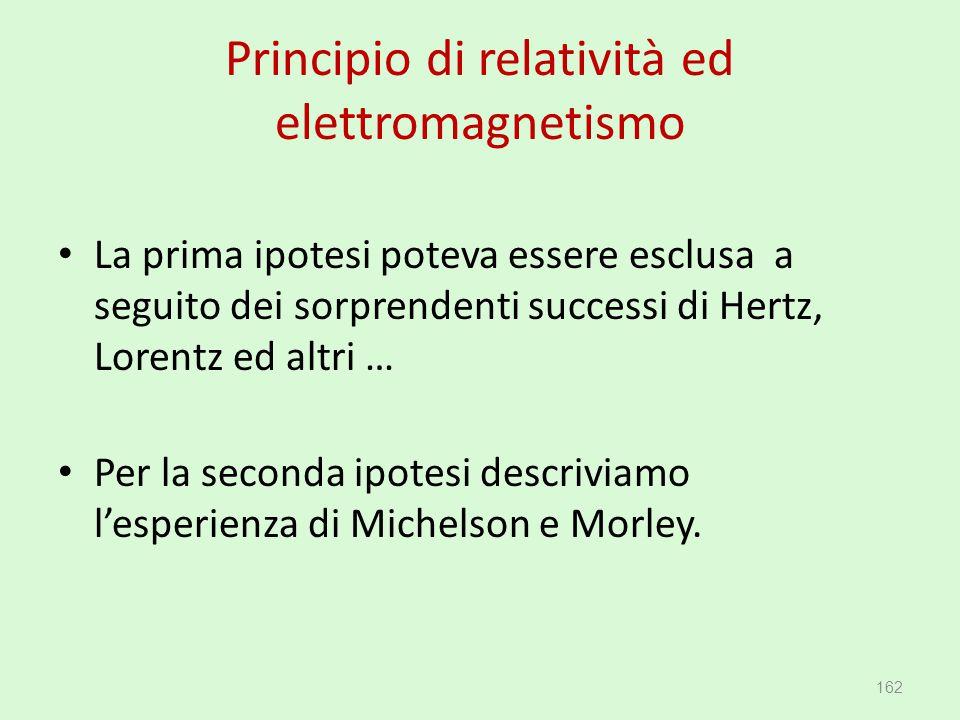 Principio di relatività ed elettromagnetismo