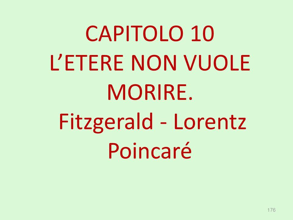 CAPITOLO 10 L'ETERE NON VUOLE MORIRE. Fitzgerald - Lorentz Poincaré