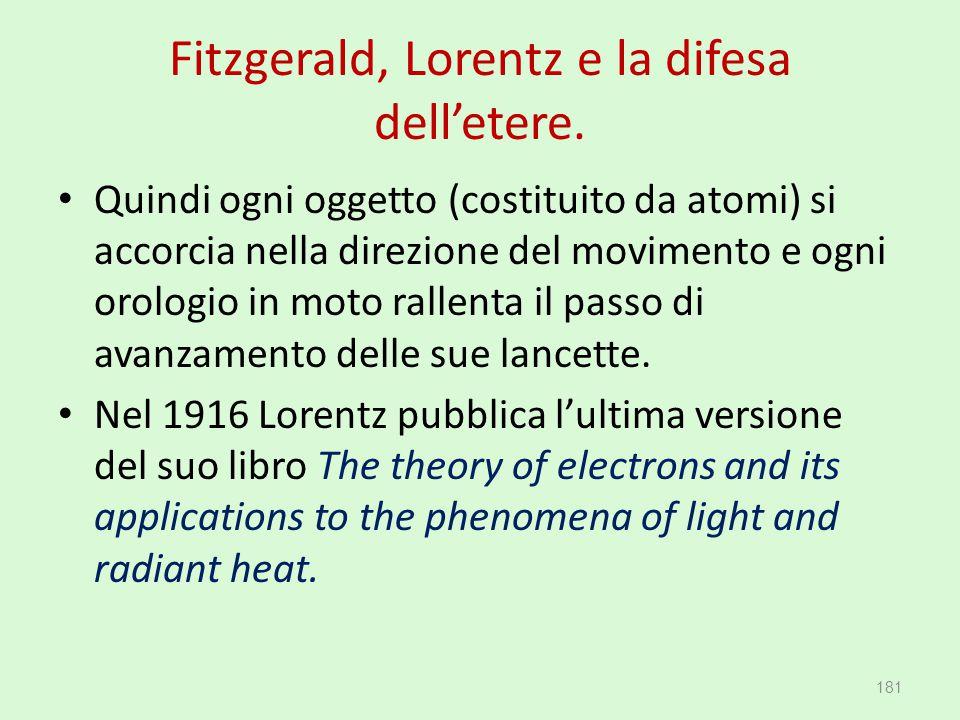 Fitzgerald, Lorentz e la difesa dell'etere.