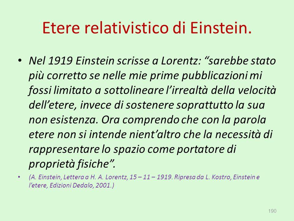 Etere relativistico di Einstein.