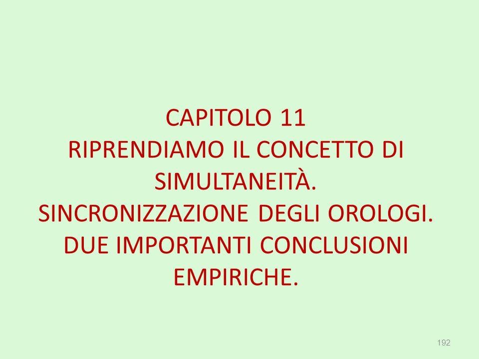 CAPITOLO 11 RIPRENDIAMO IL CONCETTO DI SIMULTANEITÀ