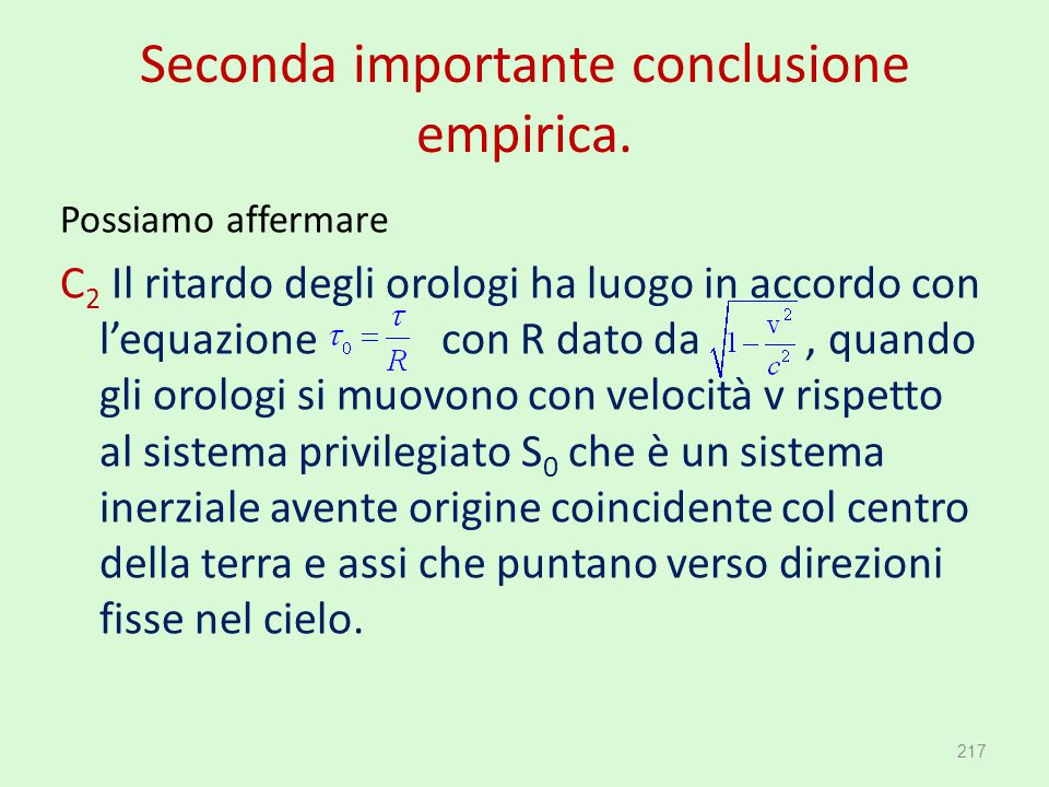 Seconda importante conclusione empirica.