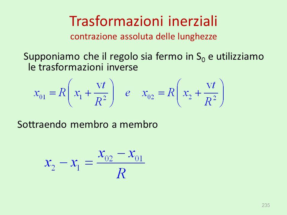 Trasformazioni inerziali contrazione assoluta delle lunghezze