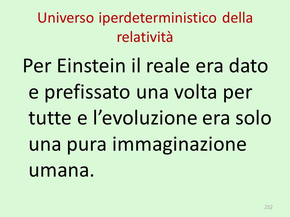 Universo iperdeterministico della relatività