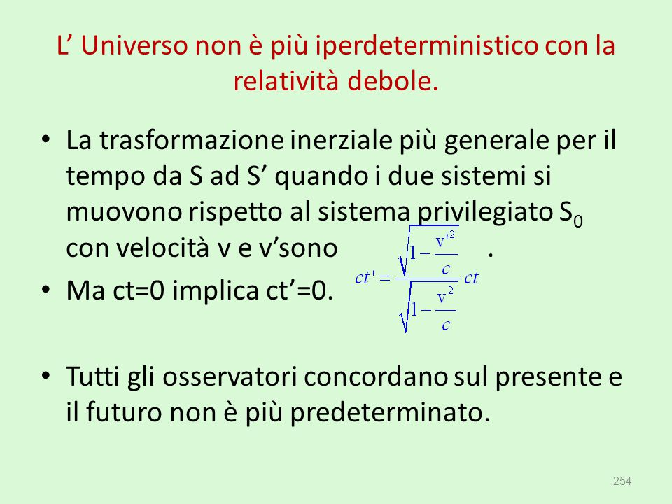 L' Universo non è più iperdeterministico con la relatività debole.