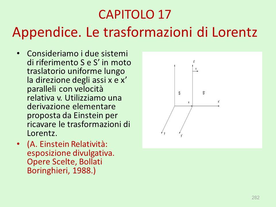 CAPITOLO 17 Appendice. Le trasformazioni di Lorentz