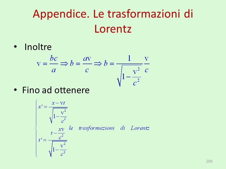 Appendice. Le trasformazioni di Lorentz