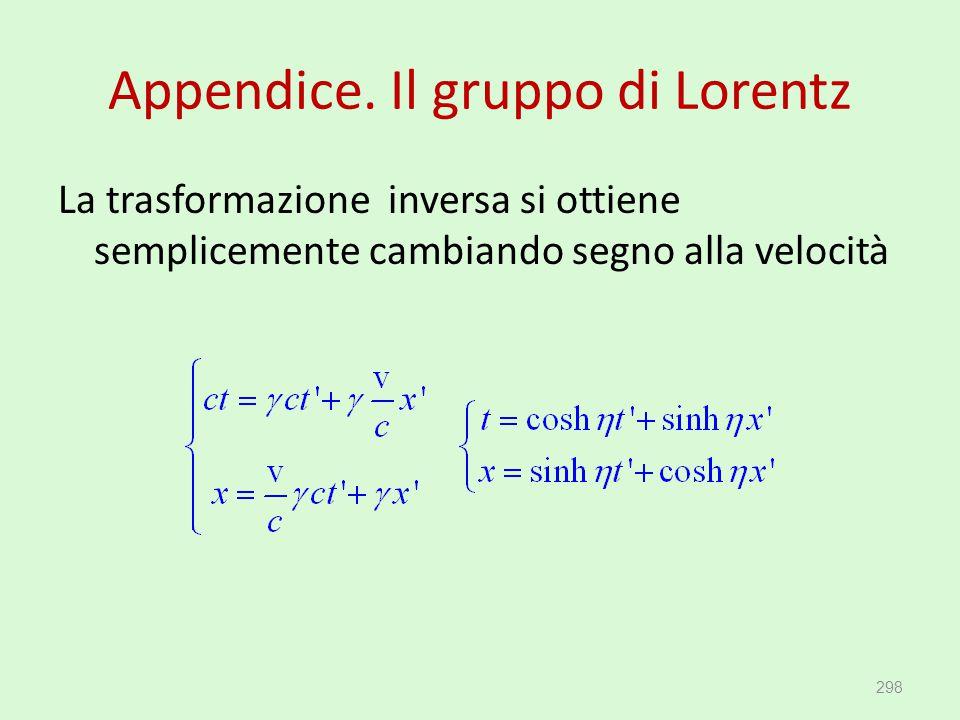 Appendice. Il gruppo di Lorentz