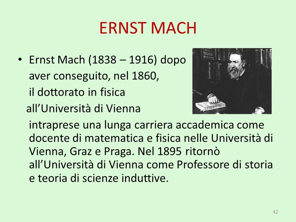 ERNST MACH Ernst Mach (1838 – 1916) dopo aver conseguito, nel 1860,