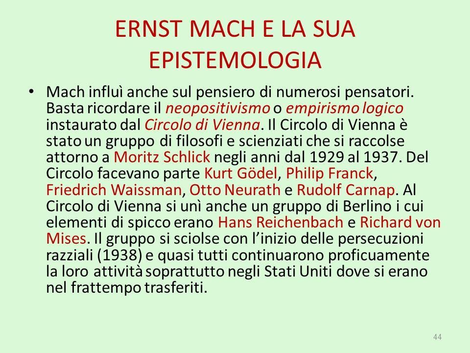 ERNST MACH E LA SUA EPISTEMOLOGIA
