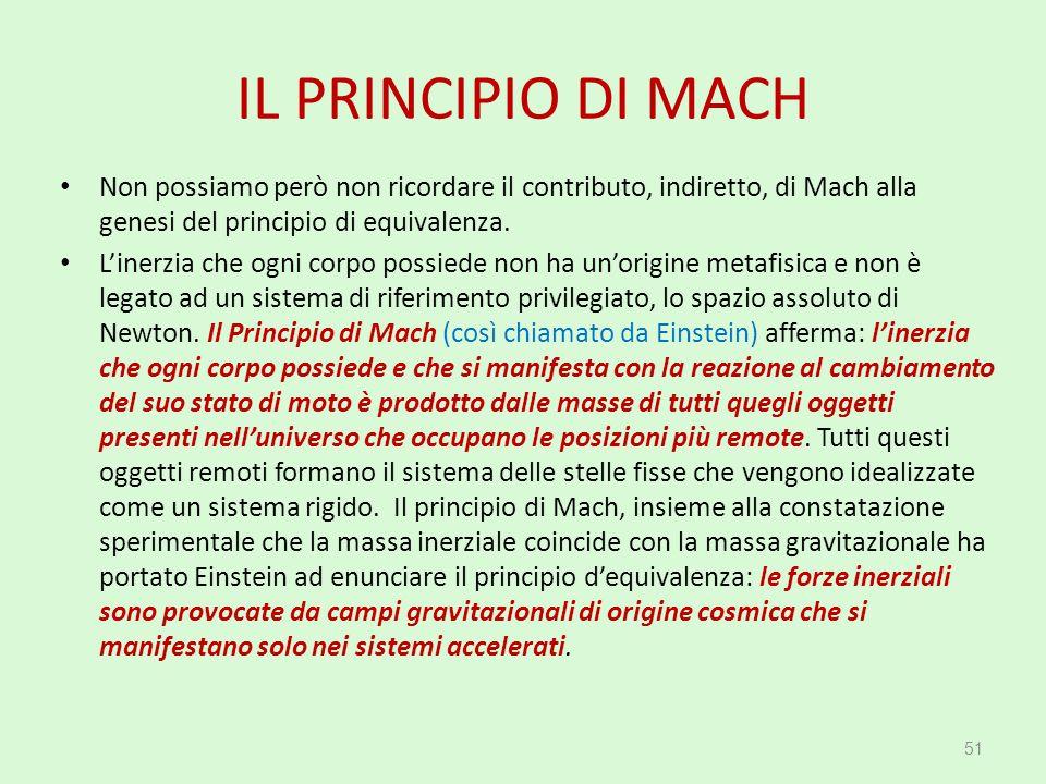 IL PRINCIPIO DI MACH Non possiamo però non ricordare il contributo, indiretto, di Mach alla genesi del principio di equivalenza.