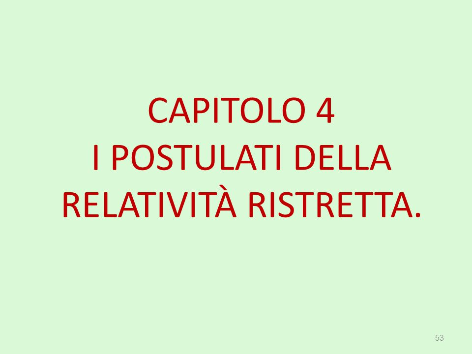 CAPITOLO 4 I POSTULATI DELLA RELATIVITÀ RISTRETTA.