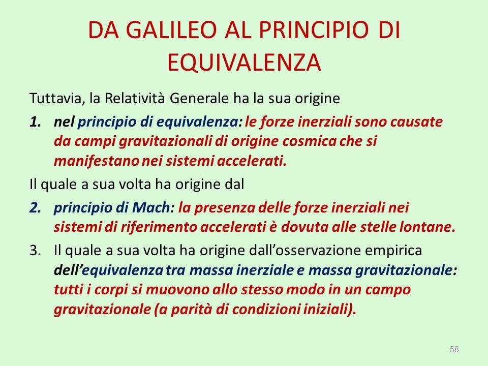 DA GALILEO AL PRINCIPIO DI EQUIVALENZA
