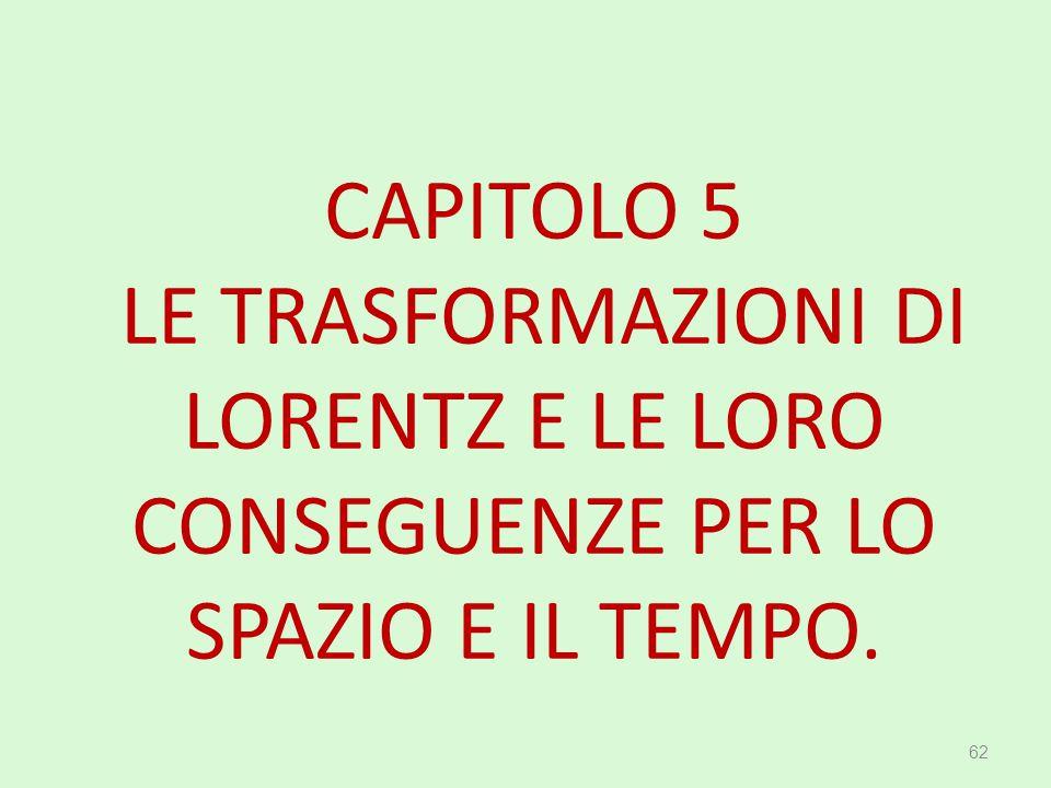 CAPITOLO 5 LE TRASFORMAZIONI DI LORENTZ E LE LORO CONSEGUENZE PER LO SPAZIO E IL TEMPO.