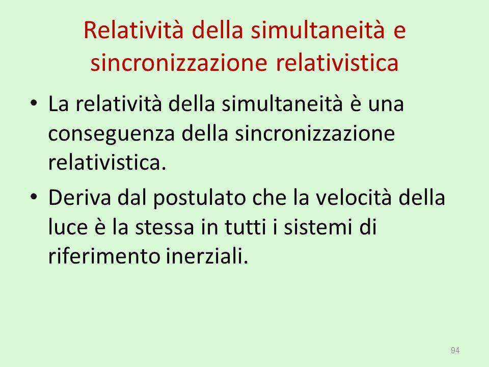 Relatività della simultaneità e sincronizzazione relativistica