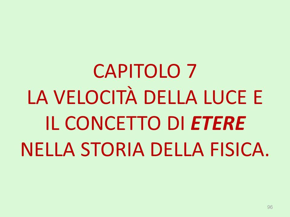 CAPITOLO 7 LA VELOCITÀ DELLA LUCE E IL CONCETTO DI ETERE NELLA STORIA DELLA FISICA.