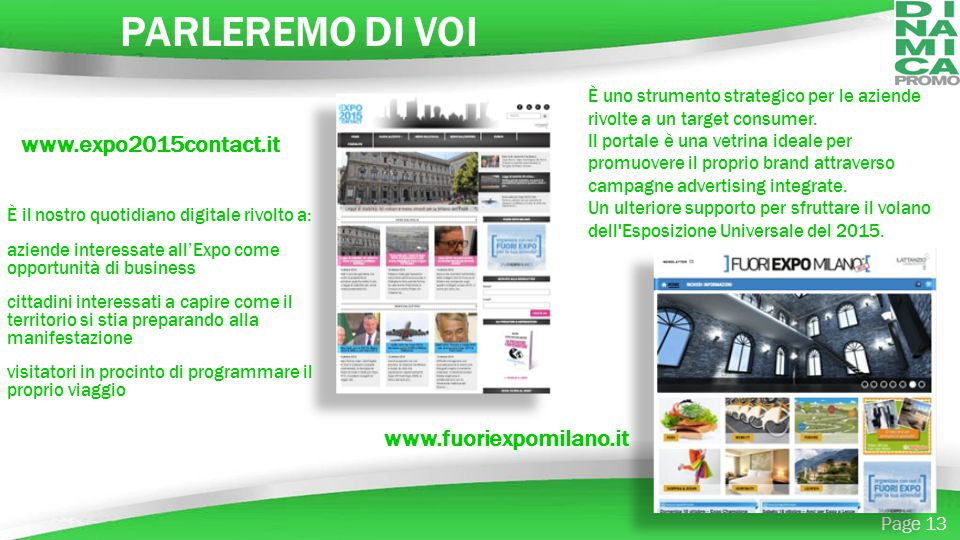 PARLEREMO DI VOI www.expo2015contact.it www.fuoriexpomilano.it