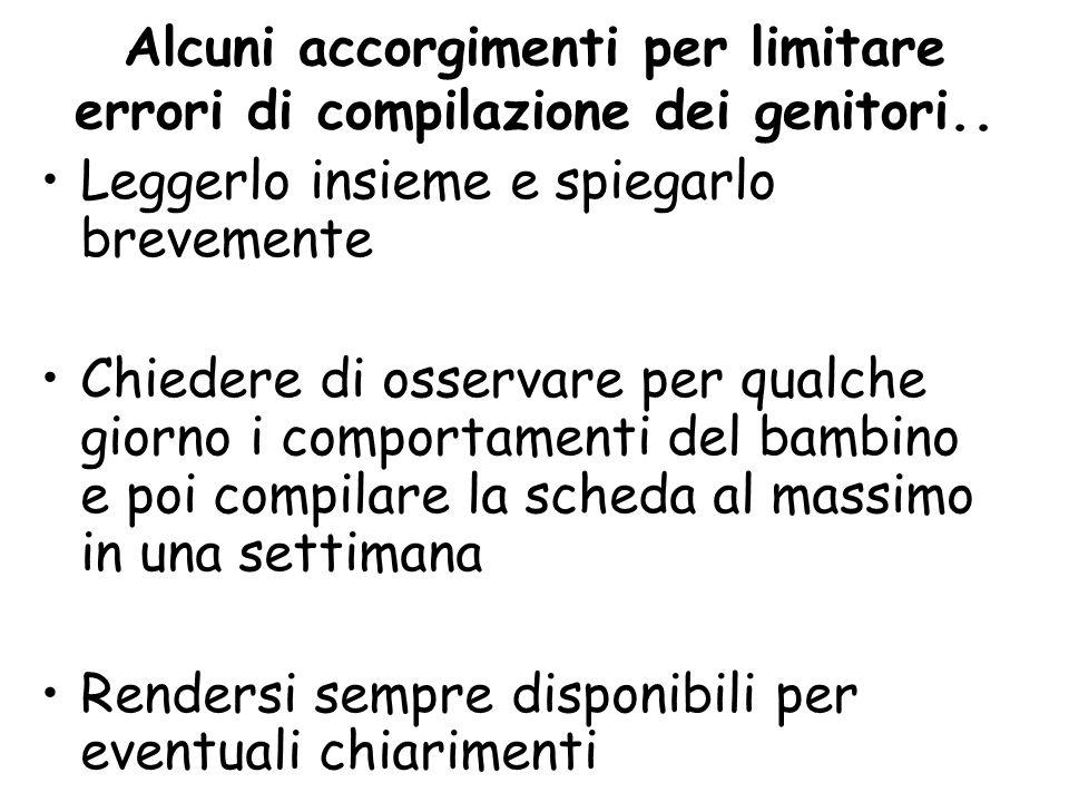 Alcuni accorgimenti per limitare errori di compilazione dei genitori..