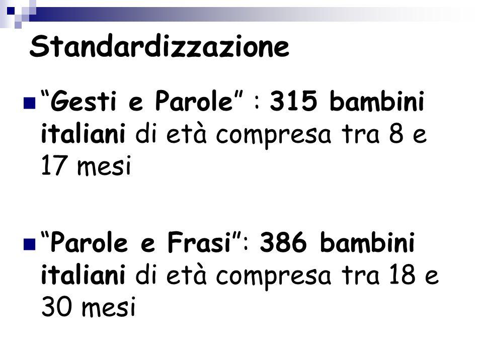 Standardizzazione Gesti e Parole : 315 bambini italiani di età compresa tra 8 e 17 mesi.