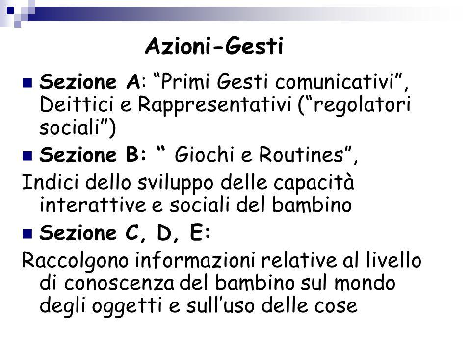 Azioni-Gesti Sezione A: Primi Gesti comunicativi , Deittici e Rappresentativi ( regolatori sociali )