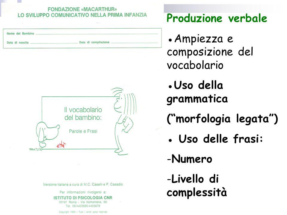 Produzione verbale ●Ampiezza e composizione del vocabolario. ●Uso della grammatica. ( morfologia legata )