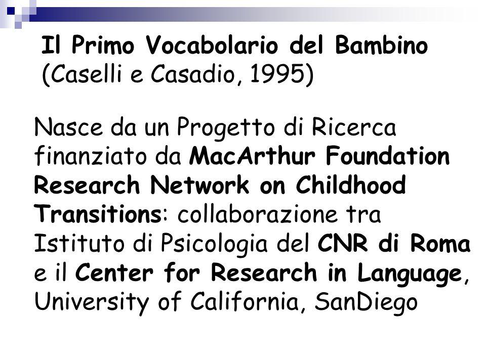 Il Primo Vocabolario del Bambino (Caselli e Casadio, 1995)