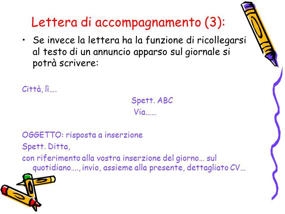 Lettera di accompagnamento (3):