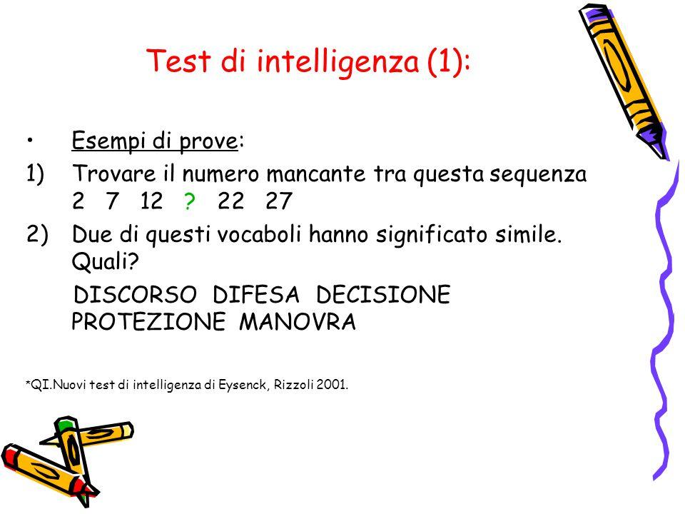 Test di intelligenza (1):