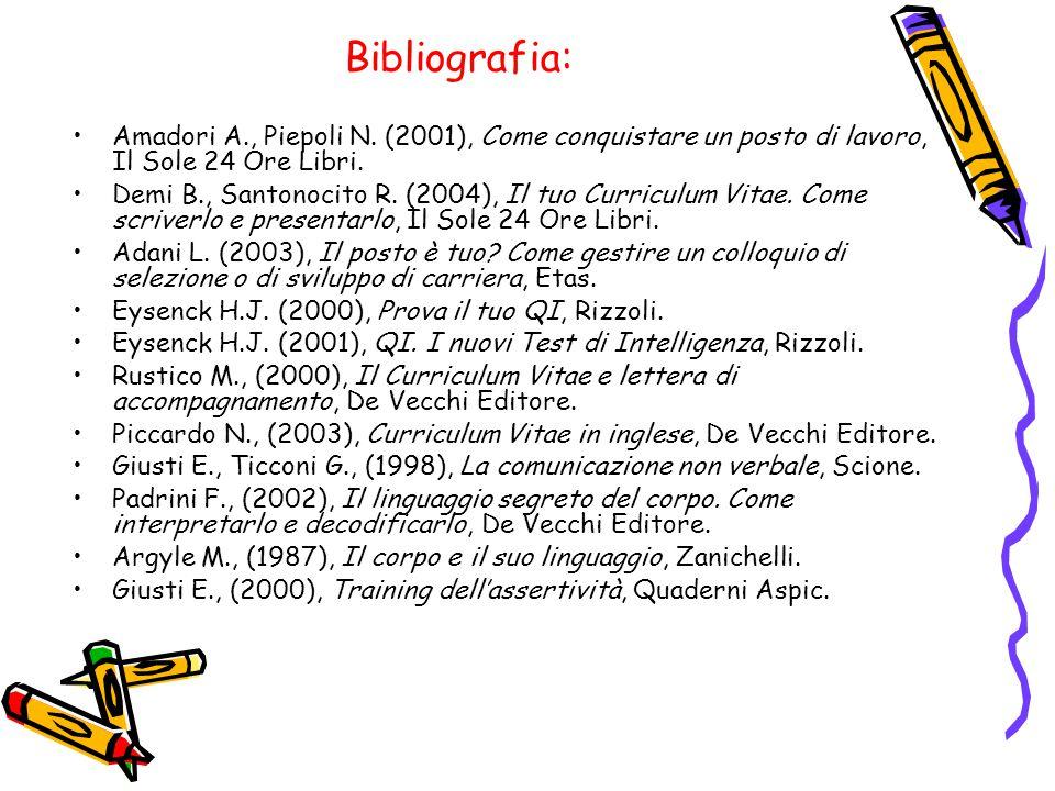 Bibliografia: Amadori A., Piepoli N. (2001), Come conquistare un posto di lavoro, Il Sole 24 Ore Libri.