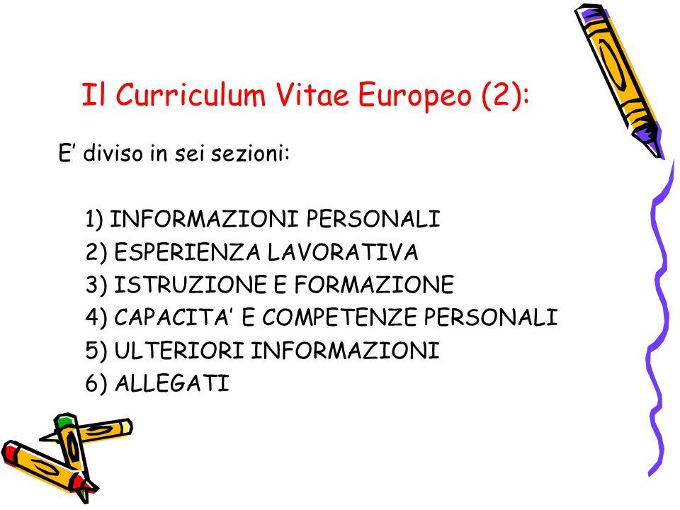 Il Curriculum Vitae Europeo (2):