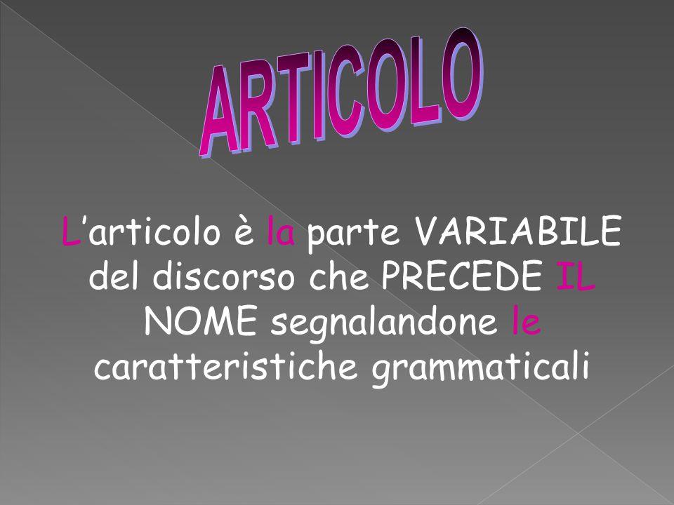 ARTICOLO L'articolo è la parte VARIABILE del discorso che PRECEDE IL NOME segnalandone le caratteristiche grammaticali.