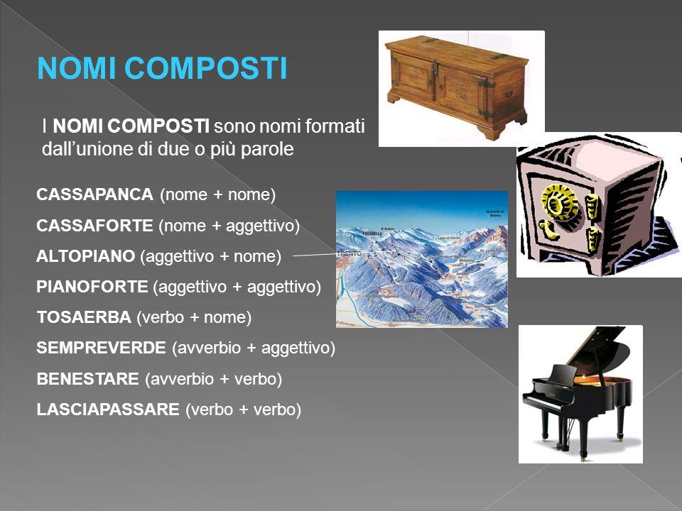 NOMI COMPOSTI I NOMI COMPOSTI sono nomi formati dall'unione di due o più parole. CASSAPANCA (nome + nome)
