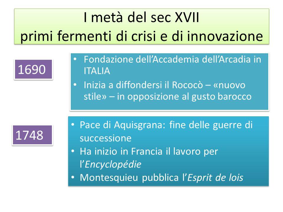 I metà del sec XVII primi fermenti di crisi e di innovazione