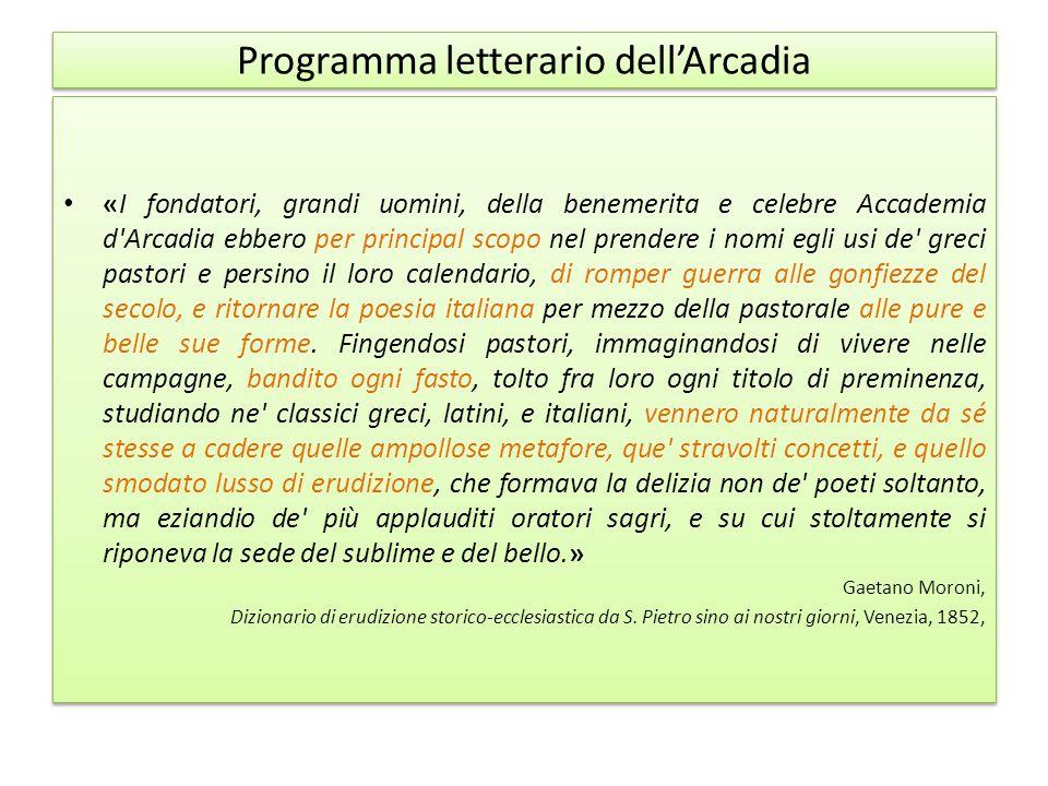 Programma letterario dell'Arcadia