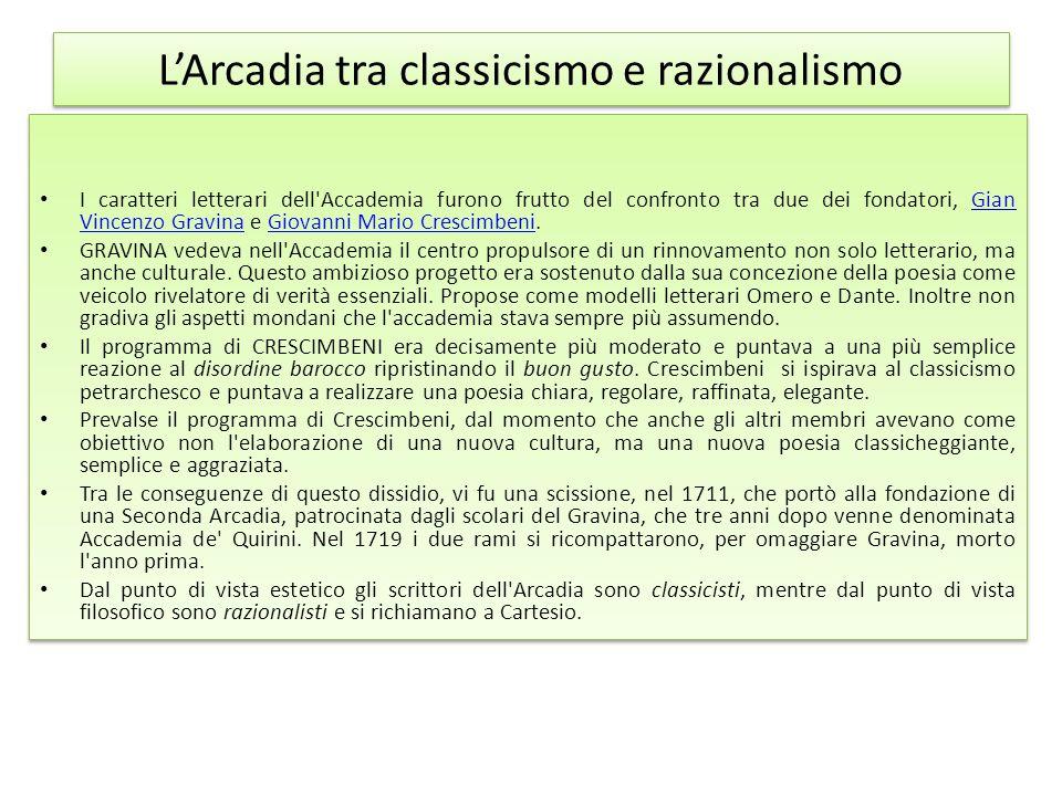 L'Arcadia tra classicismo e razionalismo